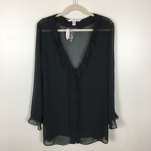 VICTORIA'S SECRET Sheer Black Blouse NWT